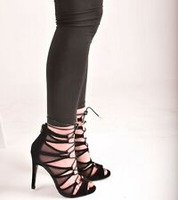 Ladies Women/'s High Heel Open Toe Mesh Lace Up Party Prom Sandal Shoes Size 4-6.