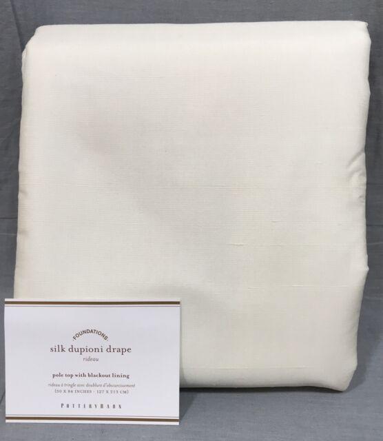 Pottery Barn Silk Diponi Drape 50x84 IVORY Blackout For