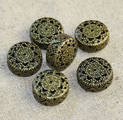 pack of 10 - Iron Filigree Beads, Flat Round, 19x8.5mm