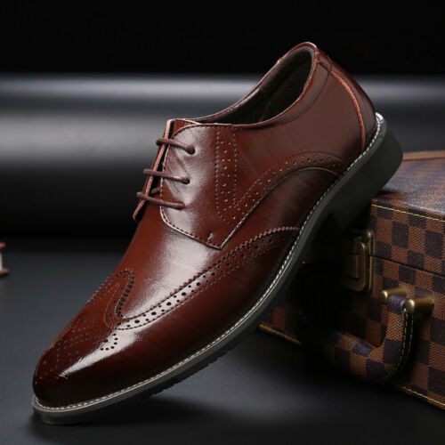 Men/'s Oxfords Brogue Leather Formal Casual Dress Lace up Wing Tip Wedding Shoes