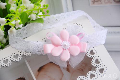 Rosa  Blume Kopfband  Stirnband Taufe Fest N99 Haarband Baby /& Kider Weiß