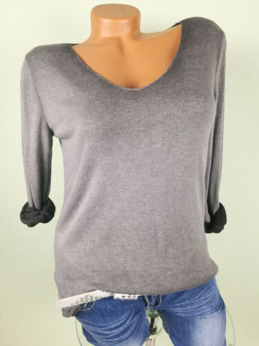 ♥ Italy Pullover Damen Feinstrick Pulli Basic Viskose GRAU 36 38 40 S M F51
