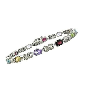 cf01bb6370829 Details about Multi Gemstone Genuine Diamond Infinity Tennis Bracelet White  14k Gold over Base