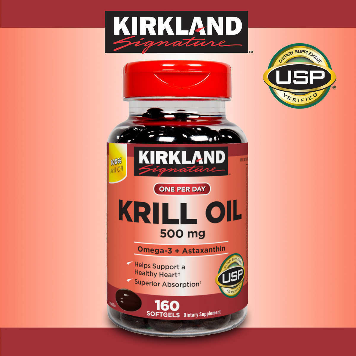 Krill Oil 500mg , 160 Softgels Kirkland Signature