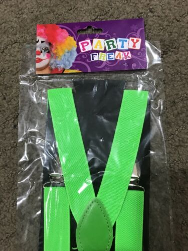 St Patrick's Day 1980s Themes Party Favours Suspenders Neon Green for Cosplay