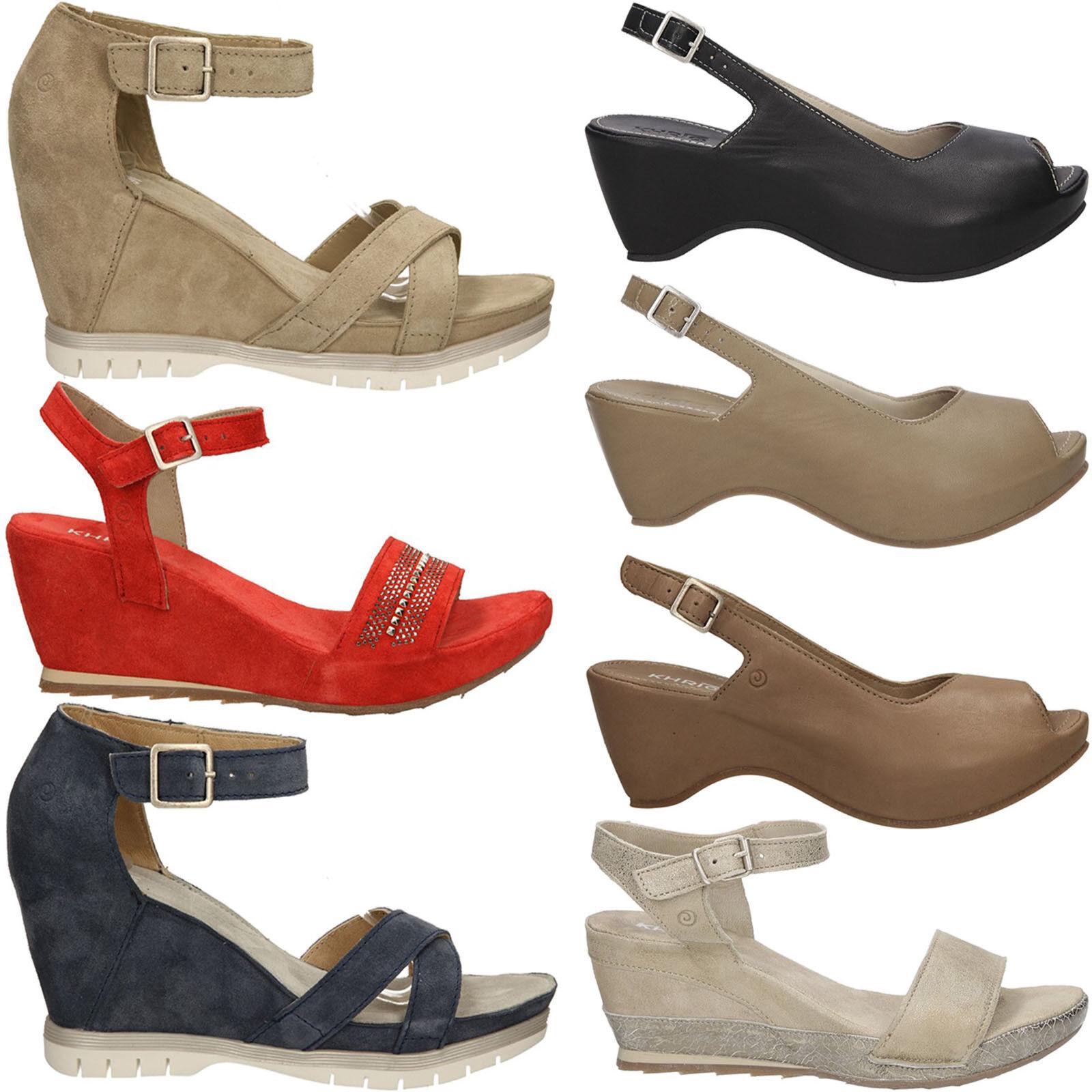 Damen Schuhe Sandaletten Khrio Echtleder Schnalle Keilabsatz Sommer Gr.36-40 NEU
