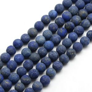 Strand-93-4mm-Natural-Frosted-Lapis-Lazuli-Plain-Round-Beads-UK