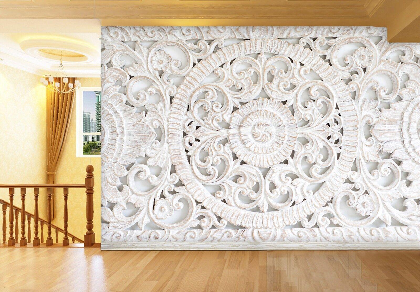 3D Weiß Round Floral 89 Wallpaper Mural Print Wall Indoor Wallpaper Murals UK