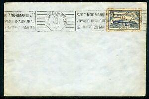 """Simple Oblitération """" S/s Normandie Voyage Inaugural Le Havre 1935 """" Sur Enveloppe Grand Assortiment"""