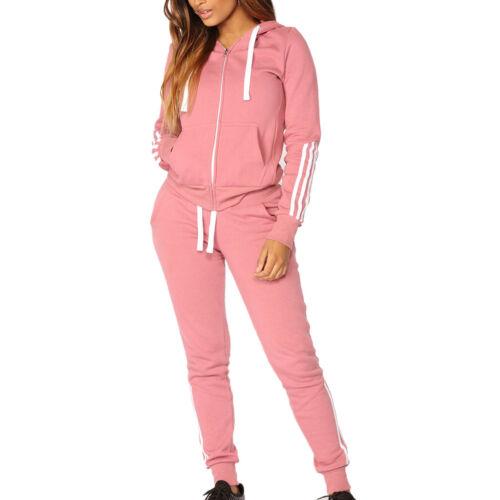 Women Slim Thick Stripe Zipper Long Sleeve Blouse Sport Tops+Slim Warm Pants Set