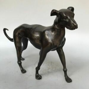 32cm Collect home Decor Old copper Bronze Carved lovely Dog Art Statue Sculpture