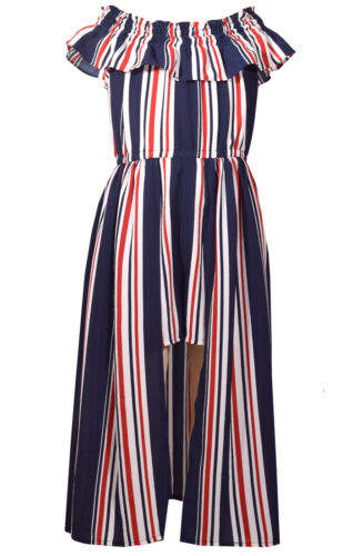 Bonnie Jean Big Girls Americana 4th of July Patriotic Summer Stripe Dress 7-16