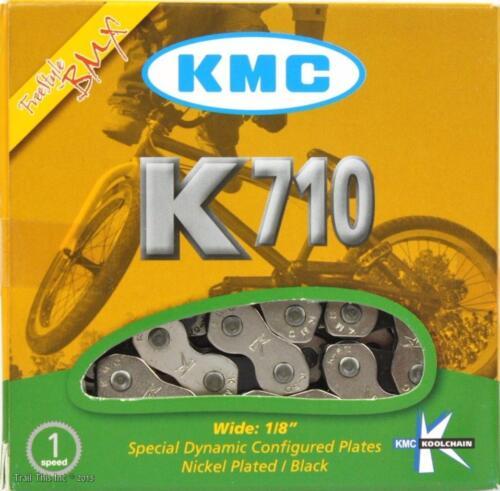 "KMC K710 Kool Chain 1//2/"" x 1//8/"" 9.5mm Freestyle BMX Bike 110L Silver /& Black"
