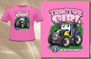New Holland Light Pink Tractor Girl T Shirt Toddler Size 100 Cotton
