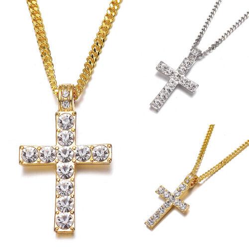 Men Women Jewelry Crystal Rhinestone Cross Pendant Necklace Adjustable Gift 1PC