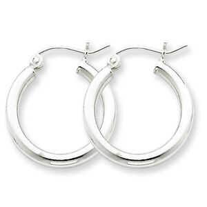 925-Sterling-Silver-Rhodium-Plated-2-5mm-x-22mm-Polished-Hinged-Hoop-Earrings