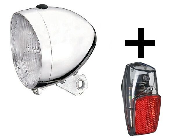 Headlight Retro Chrome + Tail Light LED Bicycle Bike Light Lamp Lighting