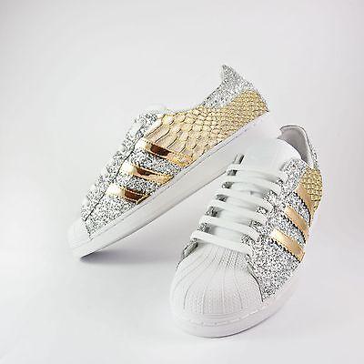 scarpe adidas superstar con glitter argento piu' specchiato