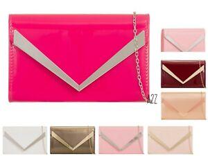 New-Women-039-s-Patent-Envelope-Clutch-Bag-Glossy-Evening-Purse-Wallet-Handbag-UK