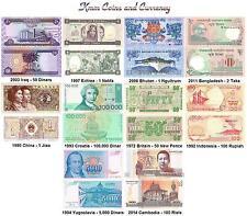 ***** World Currency Set Iraq,Bhutan,Cambodia,Croatia and More UNC *****