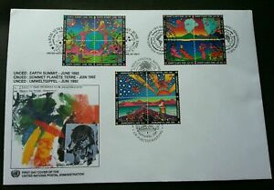 [SJ] United Nations Earth Summit 1992 Peter Max Flower Mountain Planet (FDC)