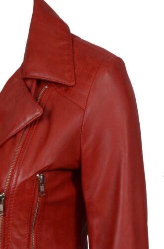 Femmes designer rétro féminin en cuir rouge longue veste de motard
