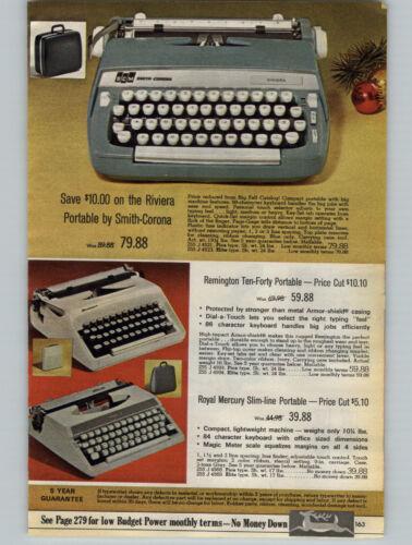 1968 PAPER AD Typewriter Smith Corona Riviera Remington Royal Mercury Ten Forty