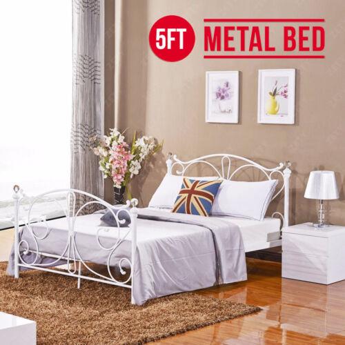 5FT King Size White Metal Bed Frame Slatted Base with Crystal Finials Bedroom