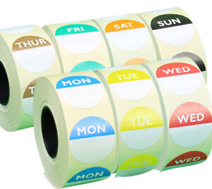 7 x 1,000 Day Dots - Monday to Sunday - Colour Coded Food Labels - Freezer