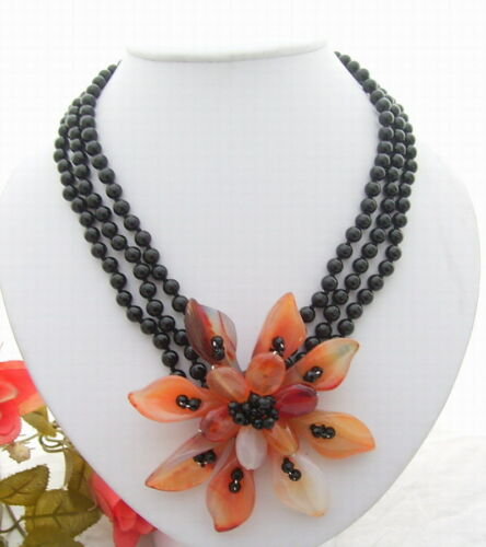 """18.5/""""  3Strds Onyx Red Agate Flower Necklace"""