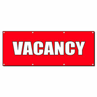 Vacancy Promotion Business Sign Banner 4' X 8' W/ 8 Grommets
