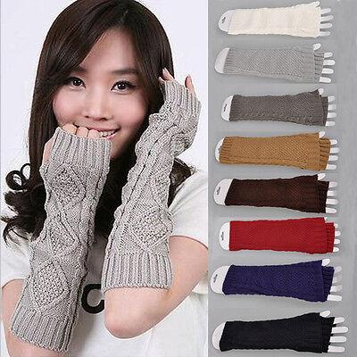 New Crochet Knitting Wool Braided Wrist Hand Arm Warmer Mitten Fingerless Gloves