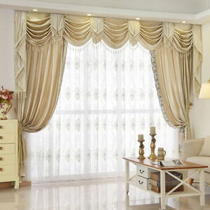 Details about 8 Feet Beige Chenille Waterfall and Swag living room Valance  Curtains customize