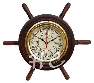 14-034-Wooden-Ship-Wheel-Clock-Bond-Street-Wood-Brass-Nautical-Home-Wall-Decor