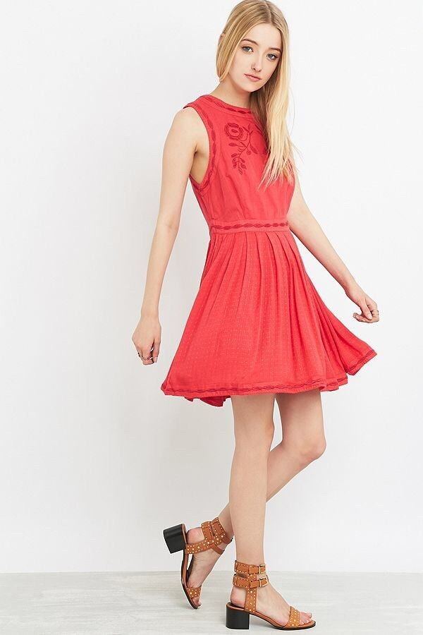Free People Coral Birds Of A Feather Embroiderot Sleeveless Mini Dress 2