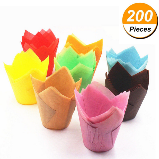 Cupcake Liners Cup Paper Tulip Baking Wrapper Case Cake Muffin Cup Box 10//25//50X