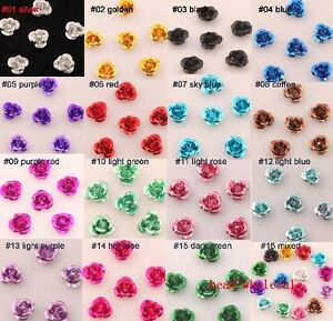 100pcs-Rose-Flower-Aluminum-Jewelry-Making-Spacer-Beads-6mm-U-Pick-Color