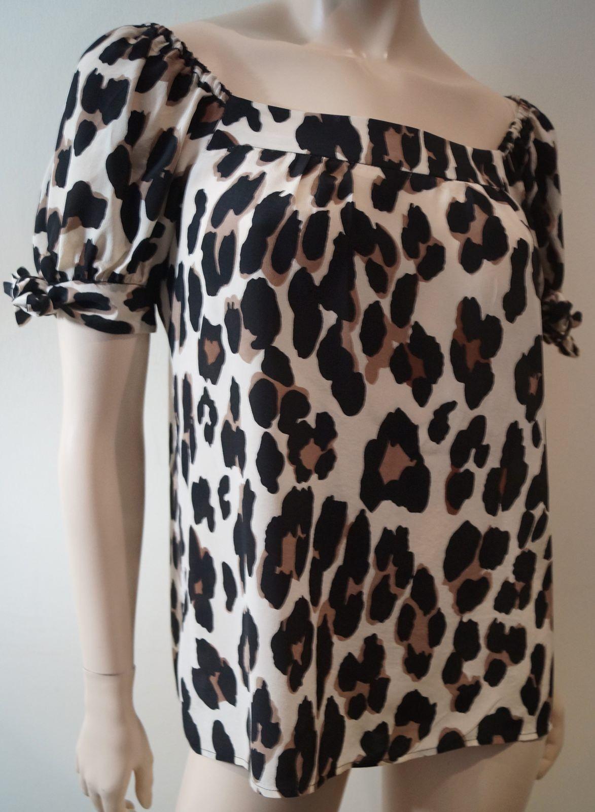 NANETTE LEPORE damen Cream braun & schwarz Leopard Print Short Sleeve Top US4 UK8