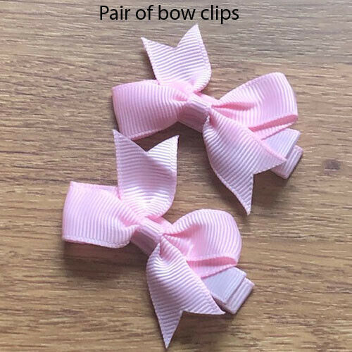 Pair of bow hair clips 2 inch bows snap clips girls toddlers babies school