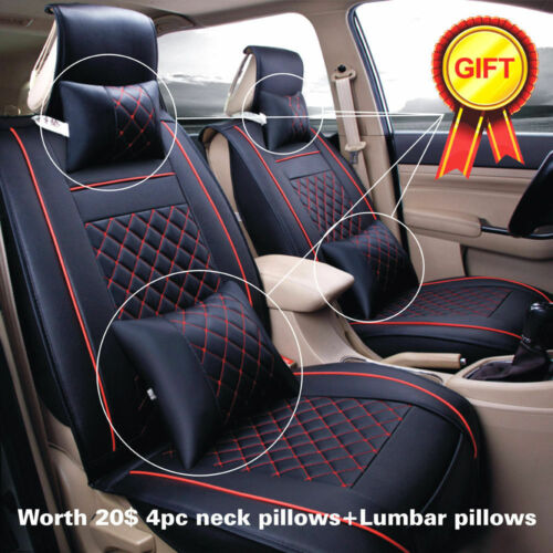 PU Leather Car Seat Cover Front /& Rear Cushion Full Set W//Pillows Size M 5 Seats