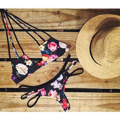 2016 Women Sexy Floral Beachwear Swimsuit Bathing Padded Push Up Bikini Swimwear