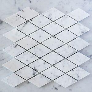 Carrara Marble Diamond Mosaic Tiles (Sheet)