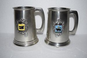 2 Vintage Sheffield England Pewter Glass Bottom Mugs - Boars Head, Cock & Bull