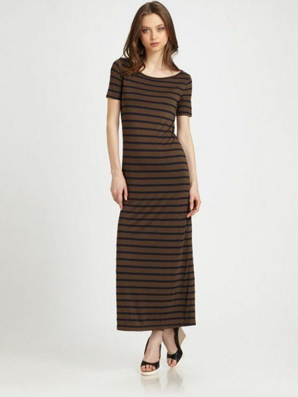 Theory CATRONA Striped Short Sleeve Jersey  Dress S