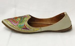 Handmade-Moroccan-Shoes-Vintage-Beige-Leather-Sequin-Embroidered-Flats-size-8