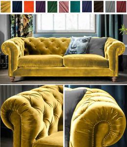 Clic Chesterfield Sofa Mustard Plush