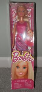 Mattel-Barbie-Doll-2014-Pink-Dress-amp-ring-Fashion-Dress-New-in-Box-Ages-3-and-Up