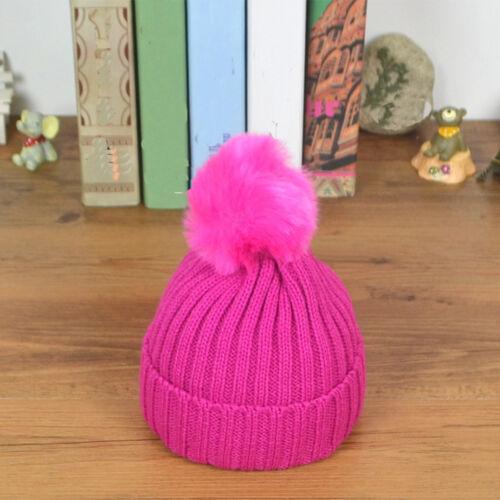Baby Toddler Kids Boy Girls Warm Knit Beanie Baggy Hat Fur Pom Bobble Ski Cap UK