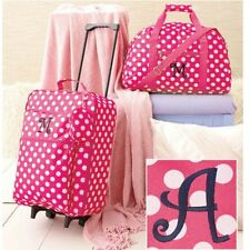 Girls Luggage Set Monogrammed Cloth Duffel Bag Rolling Suitcase Clutch Pink A