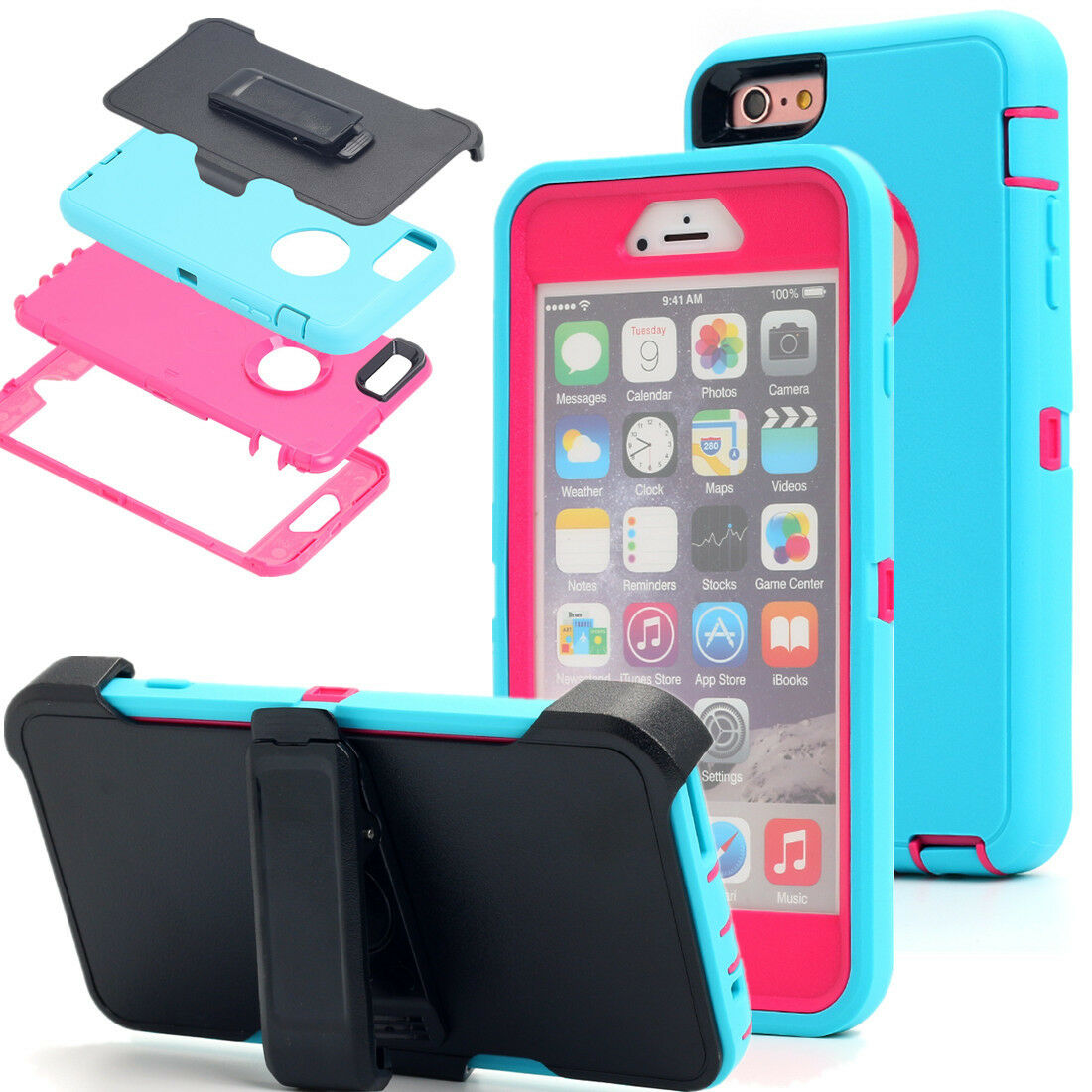 waterproof case for iphone 6 plus with belt clip and vibrant